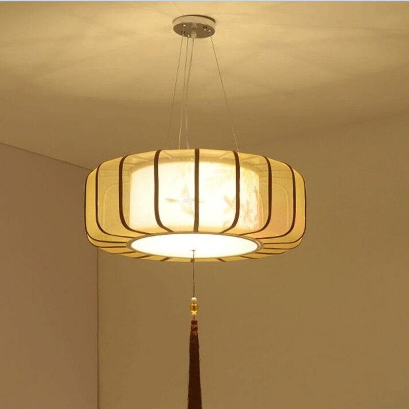 Style chinois tissu lanter pendentif lumières Art créatif restaurant salle à manger salle d'étude couloir main pendentif lampe lo1030