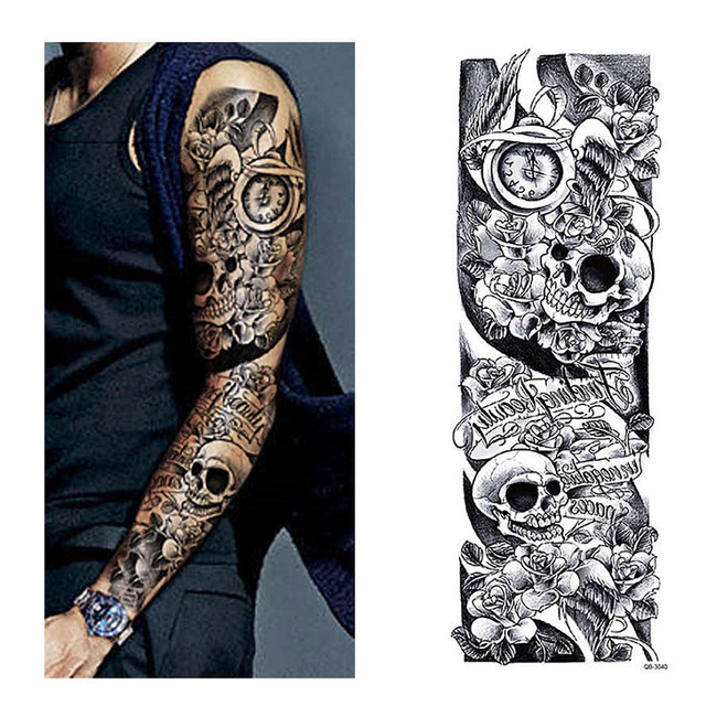 Temporary tattoo sleeve designs full arm waterproof for Full sleeve tattoo prices