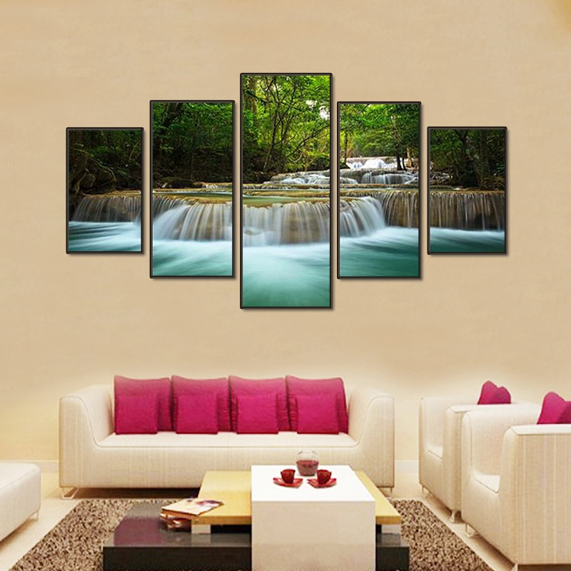 Wonderful Aliexpress.com : Buy Modern 5 Panels Landscape Wall Poster Melamine Canvas  Painting Green Waterfall Pictures Frame Canvas Prints Room Wall Art Paint  From ... Part 14