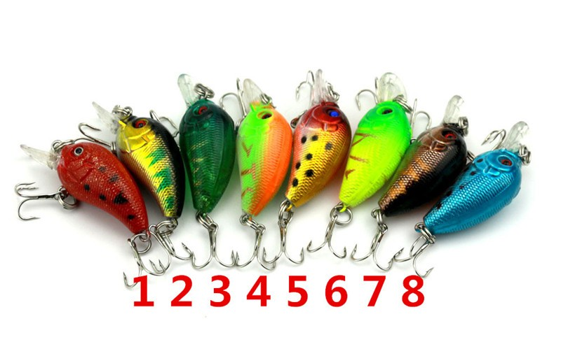 1x 4.5cm 4.2g Mini Fishing Lures Crank Baits 3d Fish Eye Simulation Minnow Crankbait Hard Plastic Laser Lure Bait Low Price (4)
