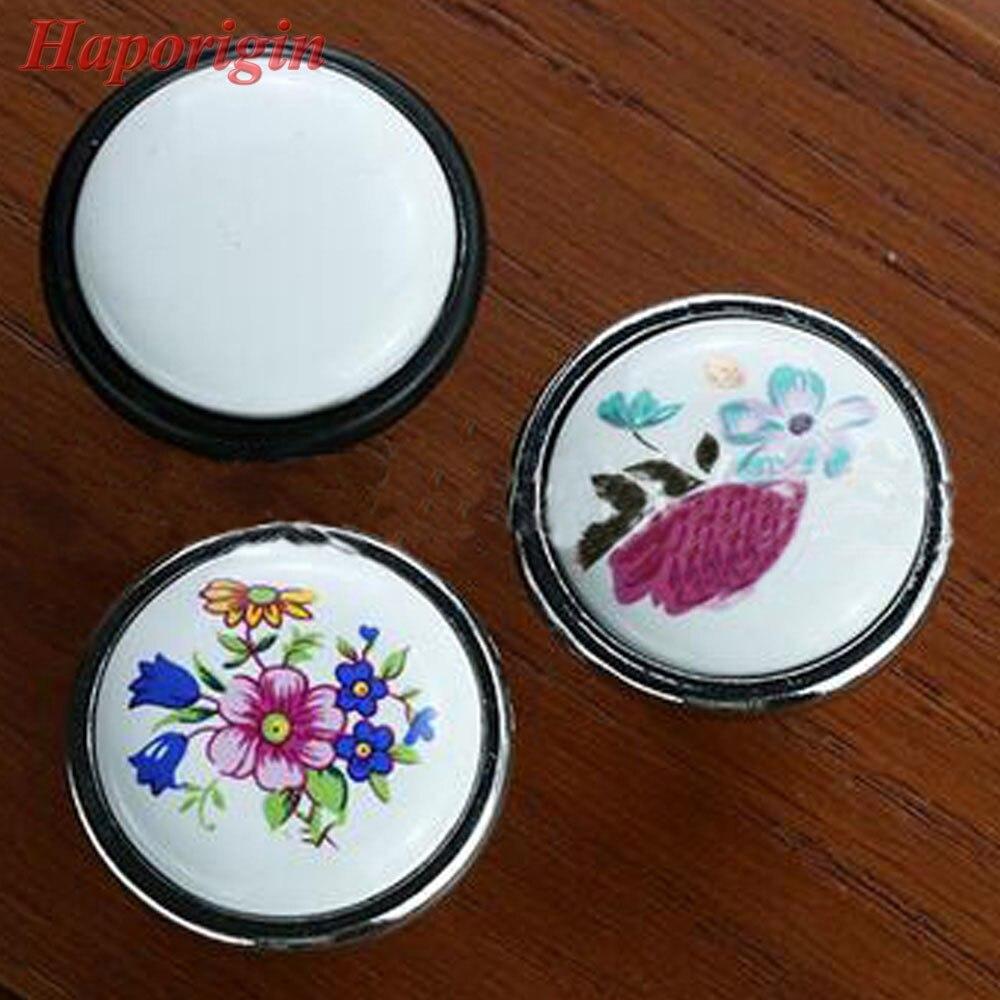 4x Ceramic Kitchen Cabinet Drawer Knobs Rustic Flower Furniture Knobs  Wardrobe Handle Bedroom Cupboard Closet Knob Dresser Pulls
