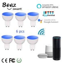 Boaz EC 6 قطعة GU10 الذكية واي فاي الأضواء LED لمبة 5 واط الملونة للتغيير Snart Wifi GU10 عكس الضوء لمبات اليكسا صدى جوجل المنزل IFTTT تويا الذكية ليلة الخفيفة