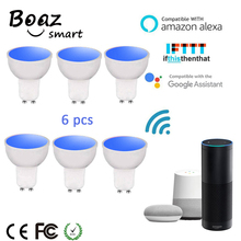 Boaz-EC 6PCS GU10 Smart Wifi Spotlight LED Bulb 5W Colorful Changable Snart Dimmable Bulbs Alexa Echo Google Home IFTTT Tuya Night Light
