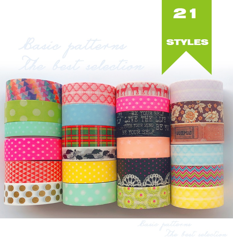 20Designs Letters/Stripe/Lace/Spots/Flower Pattern Japanese Washi Tape Decorative Adhesive DIY Masking Paper Tape Stickers Label