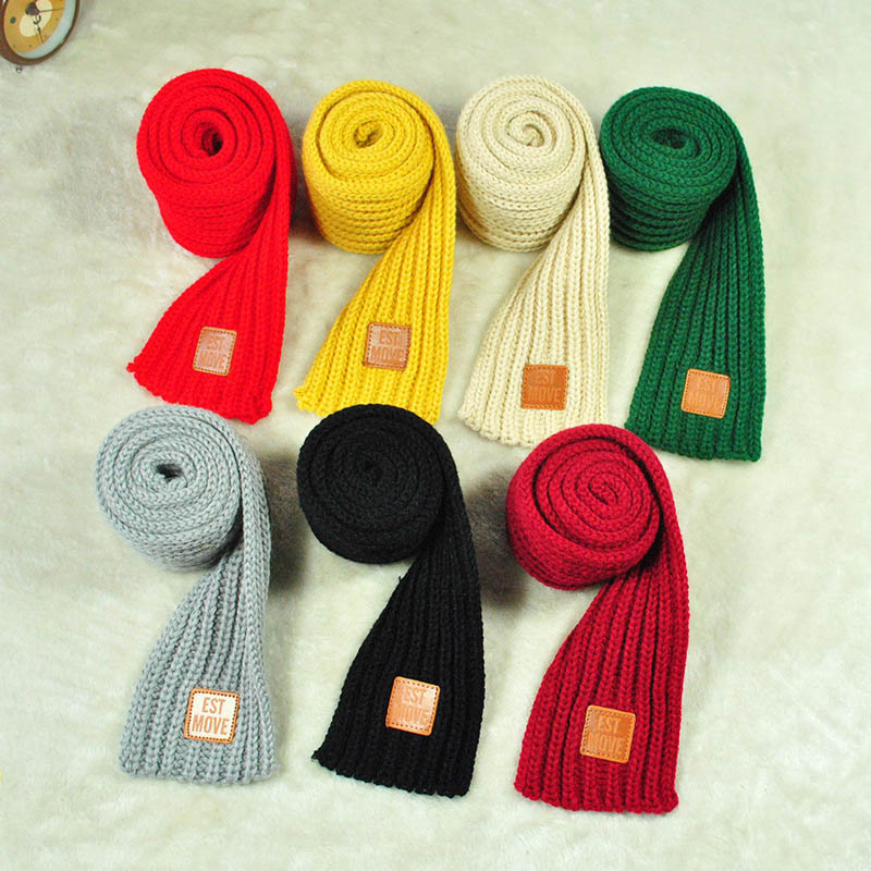 Knitted Scarf Winter Children Neck-Scarves Thicken Boys Kids Solid-Color Keep-Warm Fashion