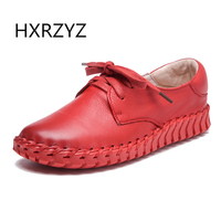 HXRZYZ Women Flat Shoes Handmade Soft Genuine Leather Shoes Spring Autumn Female Lace Up Thick Sole