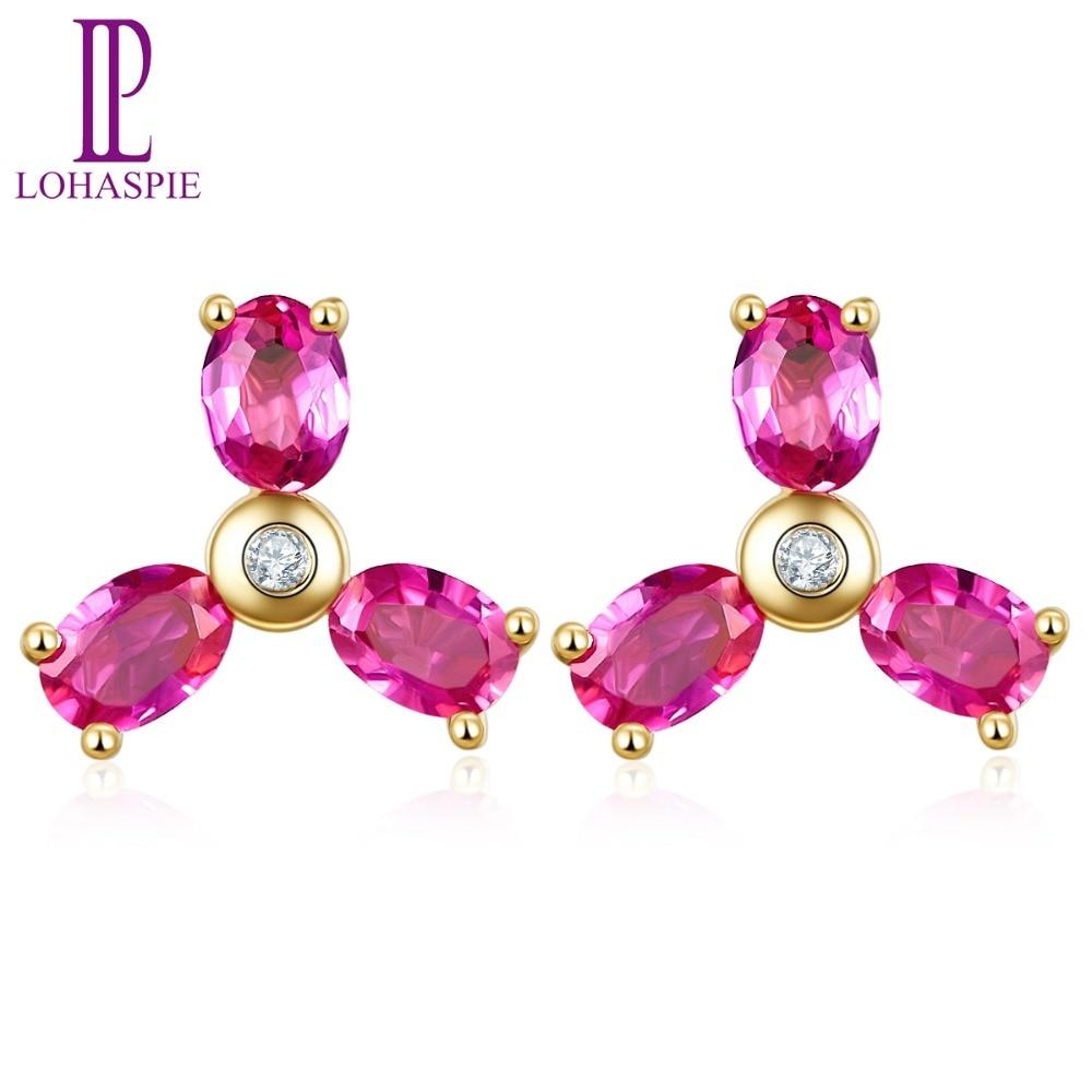 LP 7x7mm boucles d'oreilles en rubis naturel diamant solide 10 K or jaune pierres précieuses bijoux fins pour cadeau de la mère nouveau