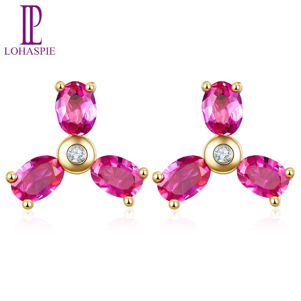 Здесь продается  Lohaspie 7x7mm Stud Earrings Natural Ruby Solid 10K Yellow Gold Gemstone Fine Jewelry For Mother