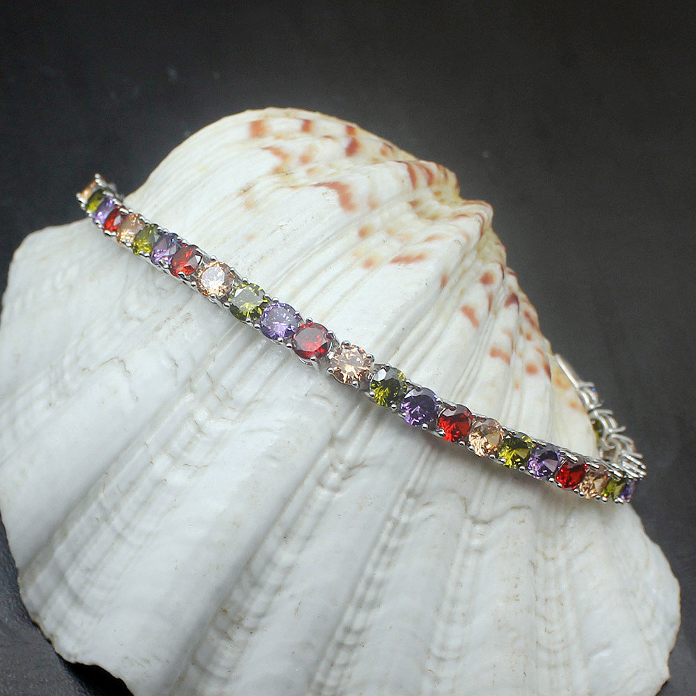 купить 38% OFF Multi Gems Rainbow Peridot Amethyst925 Sterling Silver Tennis Chain Links Bracelet Women Jewelry 7 inch недорого