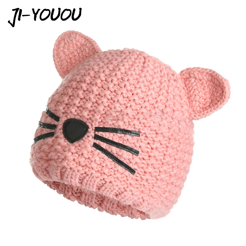 Children Winter Hat For Girls Caps Cartoon New 2018 High Quality Knitted Warm   Beanies     Skullies   Boys Kids Pom Pom Ears Hats