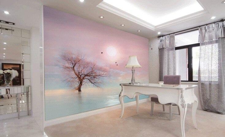 [Self-Adhesive] 3D Pink Sky Sunset Tree Sea 13 Wall Paper Mural Wall Print Decal Wall Murals