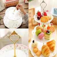 Hot 1Set 2/3 Tiers Wedding Party Cake Display Crown Handle Metal Cake Plate Stand