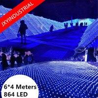 Free Fedex LED String Lights Decoration 220V Power EU Plug 860 LED Fairy Christmas Xmas Net Lights 6m x 4m 8 Displays