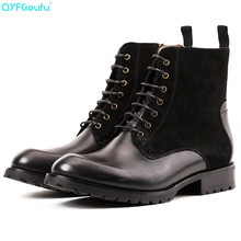 купить New 2019 High Top Winter Shoes Men Genuine Leather Chelsea Boots Brogue Ankle Motorcycle Boots For Male Botas Militar по цене 7678.97 рублей