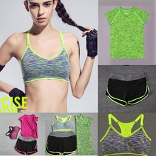 Women Sport Suit Meditation Clothing Fitness Running Jogging Yoga Set:3PCS(Bra/Elastic Leggings Capris Shorts Trousers/T Shirt)