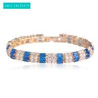 MECHOSEN Exquisite Blue Rhinestone Bracelet Bangle For Women Luxury Cubic Zirconia Gold Color Pulseira Feminina Wedding
