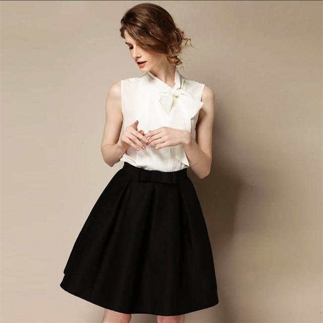 Высокое качество Новинка 2017 года женские OL ретро юбки с бантом осень-зима модные Высокая Талия юбки длиной до колен-линии бюст юбка S-XXL