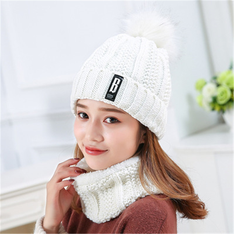 2017 High quality winter hat lady hat 2 set knitting lady winter hat   Skullies     Beanies   winter fashion passion cap female Pompom