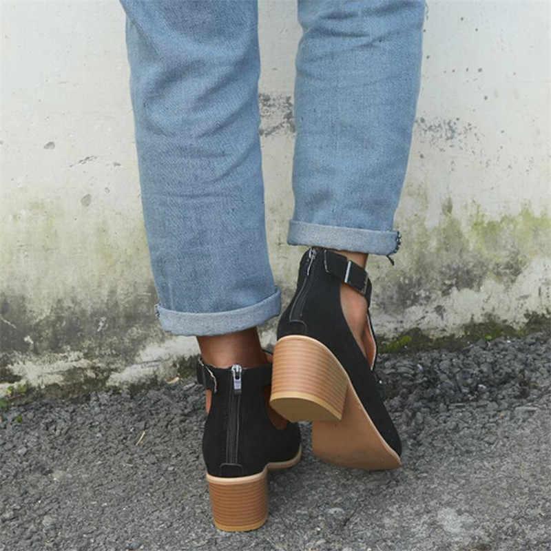 COOTELILI yarım çizmeler Kadınlar Için Botines Mujer süet ayakkabı Kadın Yüksek Topuk Çizmeler Toka Artı Boyutu 41,42, 43