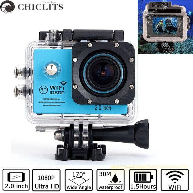 Caméra de mouvement Ultra HD 1080 P 25fps WiFiUnderwater étanche casque caméras d'enregistrement vidéo Sport Cam Action vidéo 1.5 heures