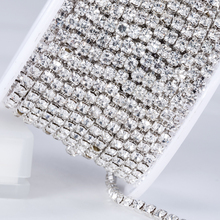 QIAO New Deals Crystal Rhinestone DIY Beauty SS12 10yards/roll 3mm fashion accessories clear close rhinestone cup chain
