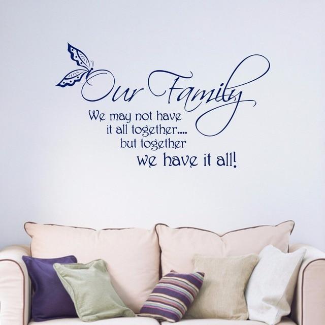 Estremamente La nostra Famiglia Citare Le Parole e Frasi Smontabile del Vinile  CS21