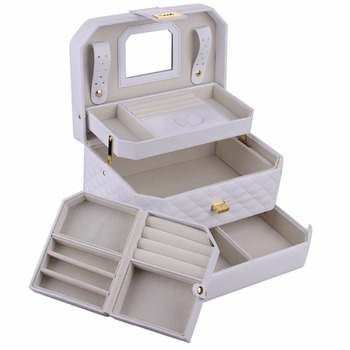 White Jewelry Box Travel Case Organizer