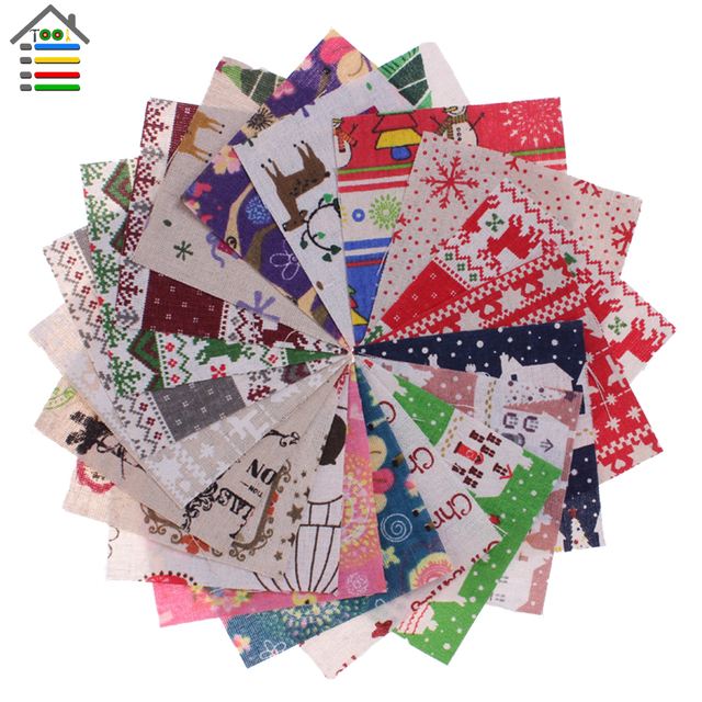 30pc Christmas Pattern Flax Fabric for DIY Handy Sewing Cloth ... : quilting tools and accessories - Adamdwight.com