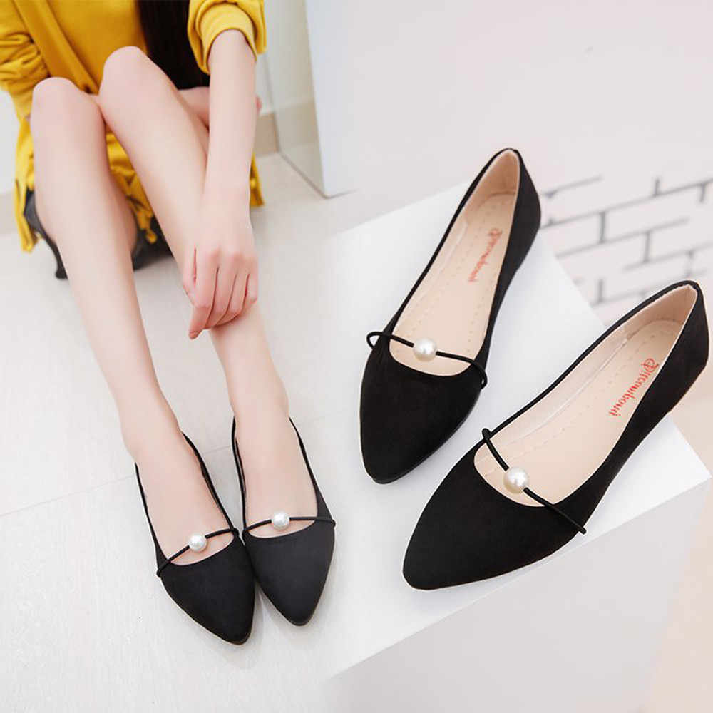 Women's Solid Color Suede Flat Heel Pearl Flat Heel Pointed Casual Shoes women sandals flat casual summer sandals women