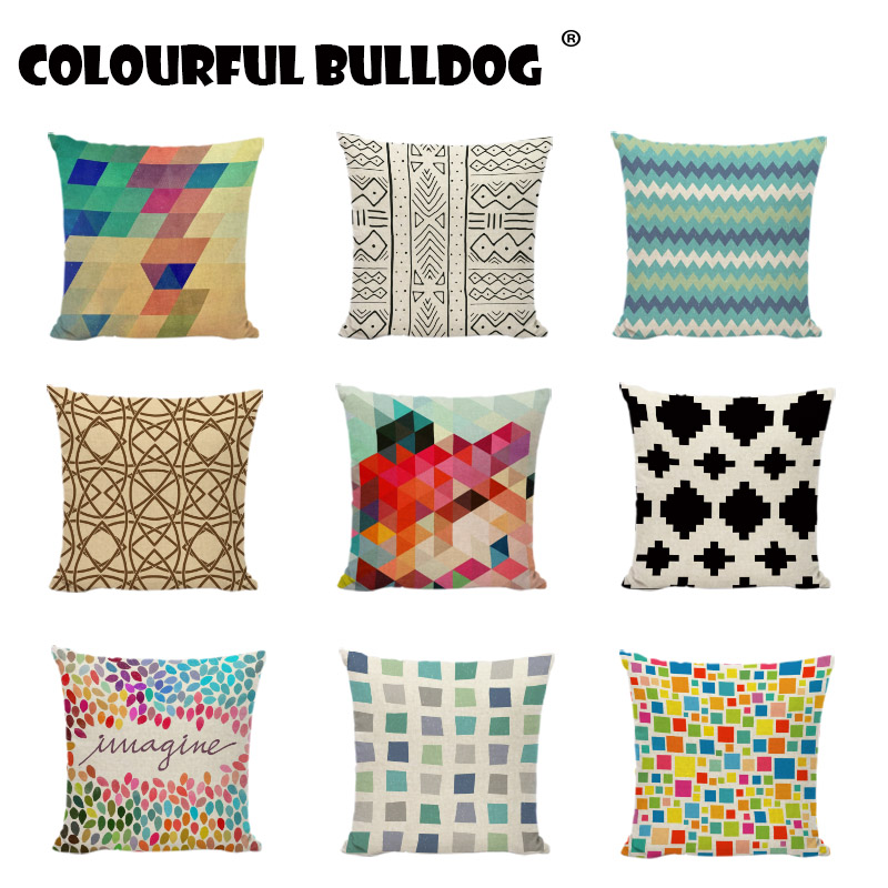 Geometric Stitching Cushion Cover Modern Art Black And White Lines Colorful Plaid Print Home Decor Bench Seat Throw Pillow Cases