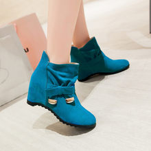 Big size 34-43 New Round Toe Buckle Boots for Women Sexy Ankle Boots heels Fashion warm Winter Spring Autumn Casual Shoes x-4(China)