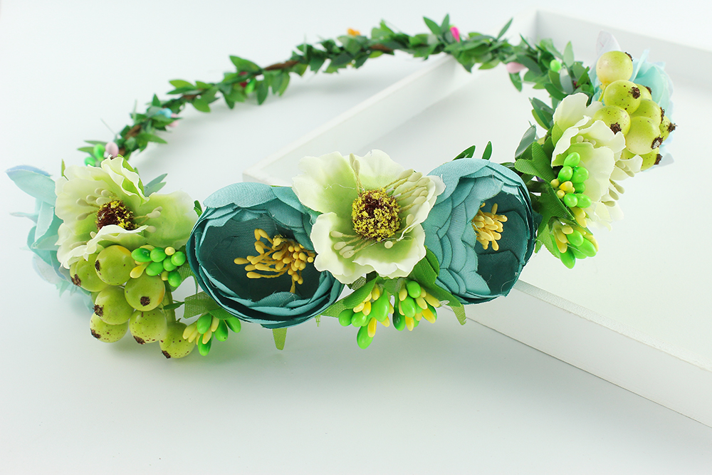 Antique Green Artifical Flowers Crown Hair Band Headdress Wreath Wedding Festival Fruit Woven Bride Bridesmaid Crown Wreath At Any Cost