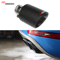 Carbon Fiber Coated Stainless Steel Universal Car Exhaust Pipe Tip Tailtip 114mm 63mm Akrapovic Car Exhaust