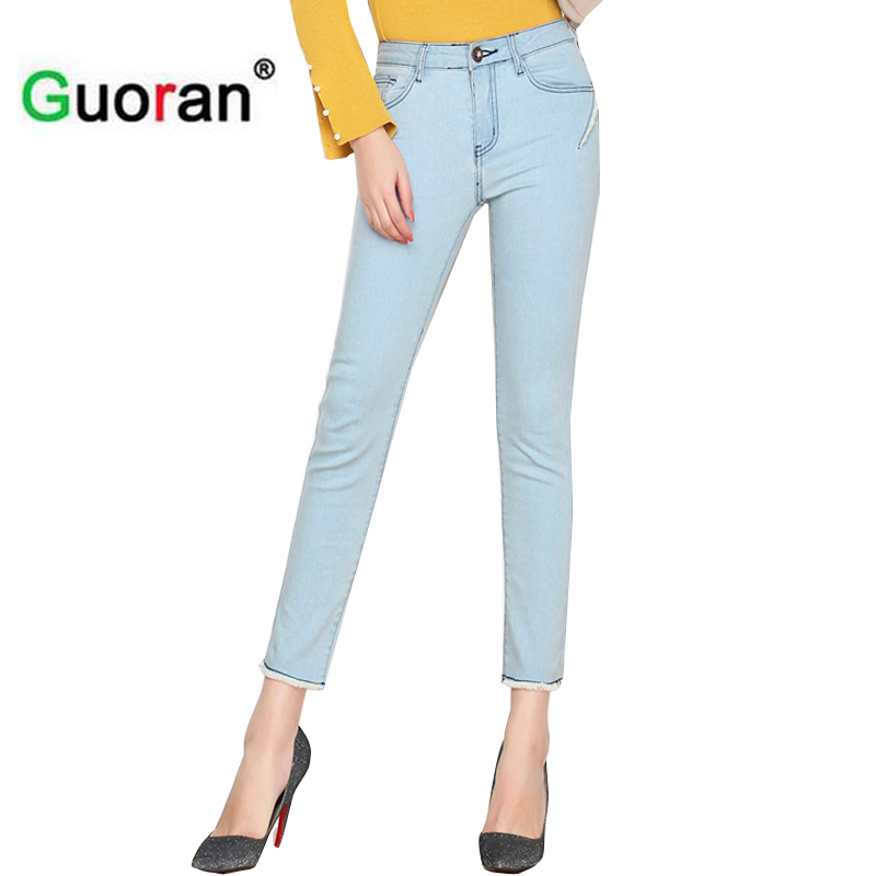 {Guoran} Stretch women capris jeans pencil pants plus size 26-33 with high waist skinny elastic jeans trousers ankle length leiji fashion blue s 6xl 2017 woman mid waist plus size women leggings high elastic skinny pencil jeans capris pants femme