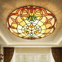 Barroco europeo Tiffany stained glass Pantalla De Cristal lamparas de techo abajur Pastoral Ronda Luz de Techo 110-240 V