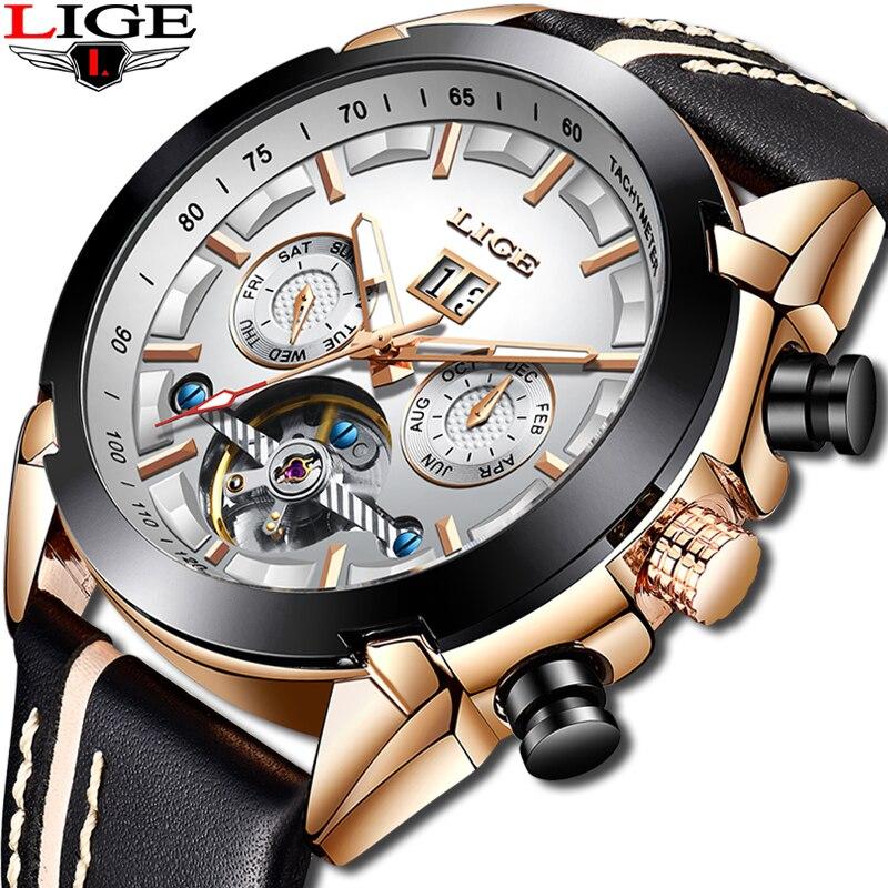LIGE Men Watches Top Barnd Luxury Automatic Mechanical Watch Male Leather Waterproof Sport Watch Men Business Clock Reloj Hombre