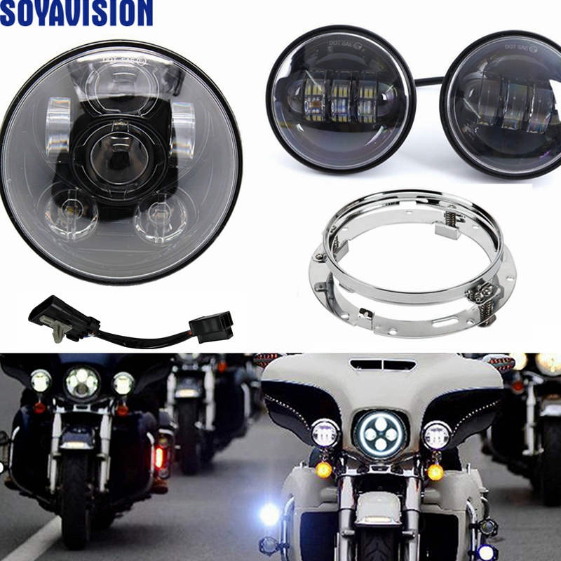 New Harley Daymaker Motos 7\ Led Headlight With 45 \ Fog Rhaliexpress: Car Fog Light Wiring Harness At Elf-jo.com