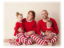 Christmas Family Pajamas Set Stripe Family Adult Kids Sleepwear Nightwear Pjs Mother Daughter Outfits Family Matching Clothes(China)