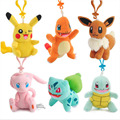 W5337 Plush 8-10cm Bulbasaur Anime girl gift POKEMON GO ASH ketchum Keychain Pendant Pikachu Figures Key Chains