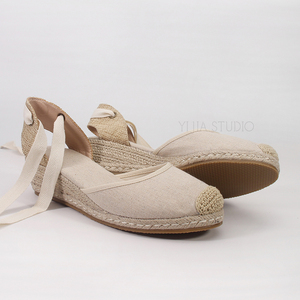 Image 4 - 5cm wedge heel women summer espadrilles sandals in beige and black color