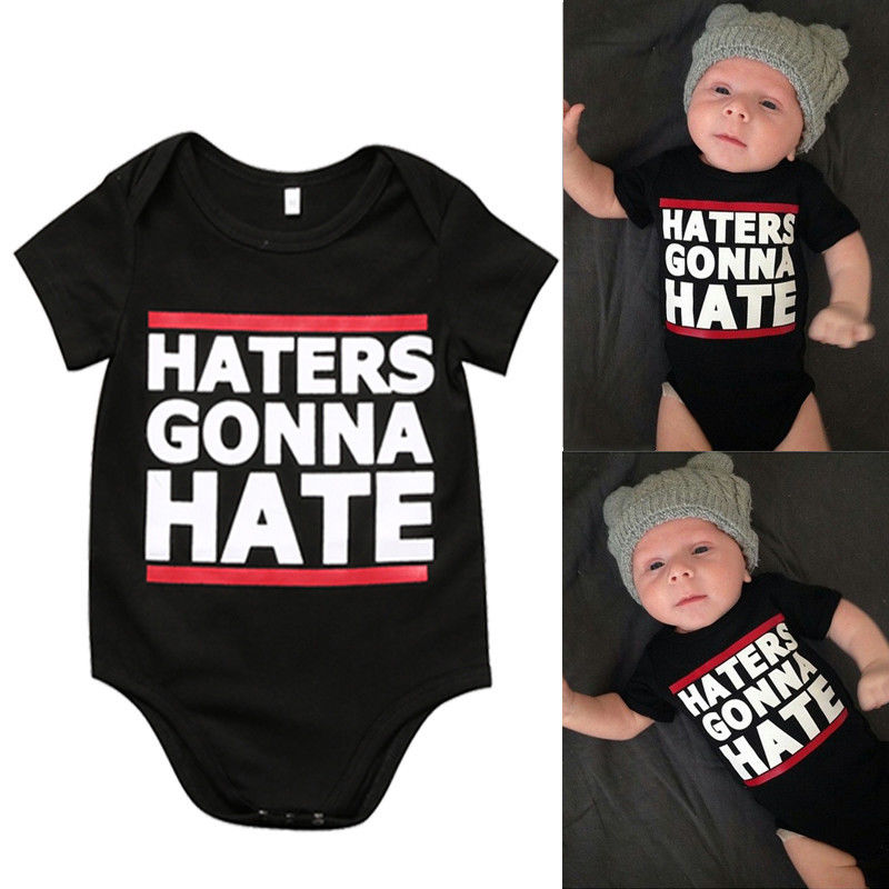 0-18M infant baby toddler UNISEX t shirt Letters haters gonna hate  Boy Girl tshirt Cotton Casual Children Black Top Tees