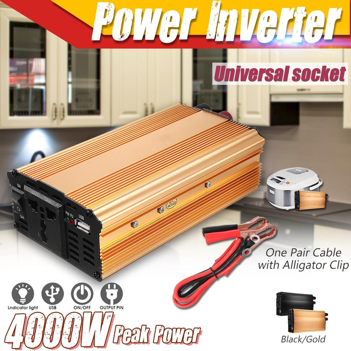Inversor 12 v 24 v 220 v 4000 w pico potência do carro inversor transformador de tensão conversor 12 220 carregador solar inversor 12 v 220 v 1 plugue