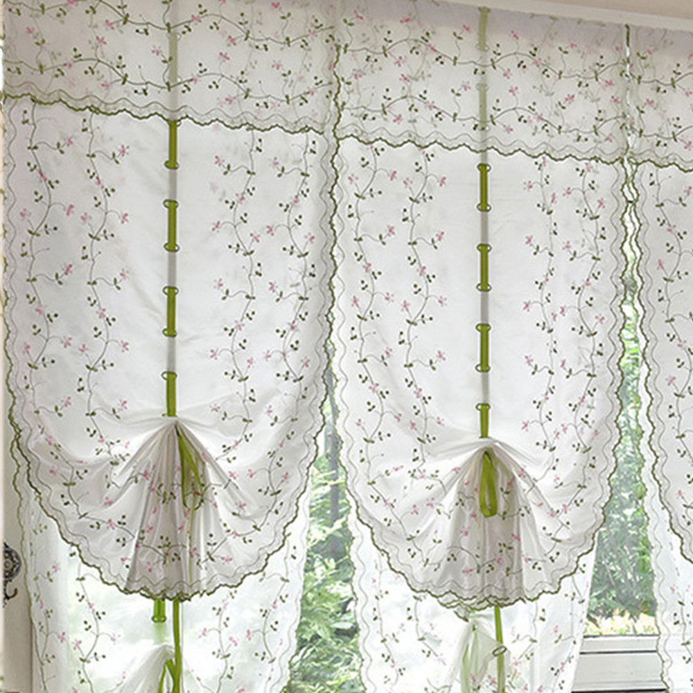 Past Tulle Roman Blinds Embroidered Sheer For Kitchen Living Room Bedroom Window Sector Balloon Curtains Screening Fl