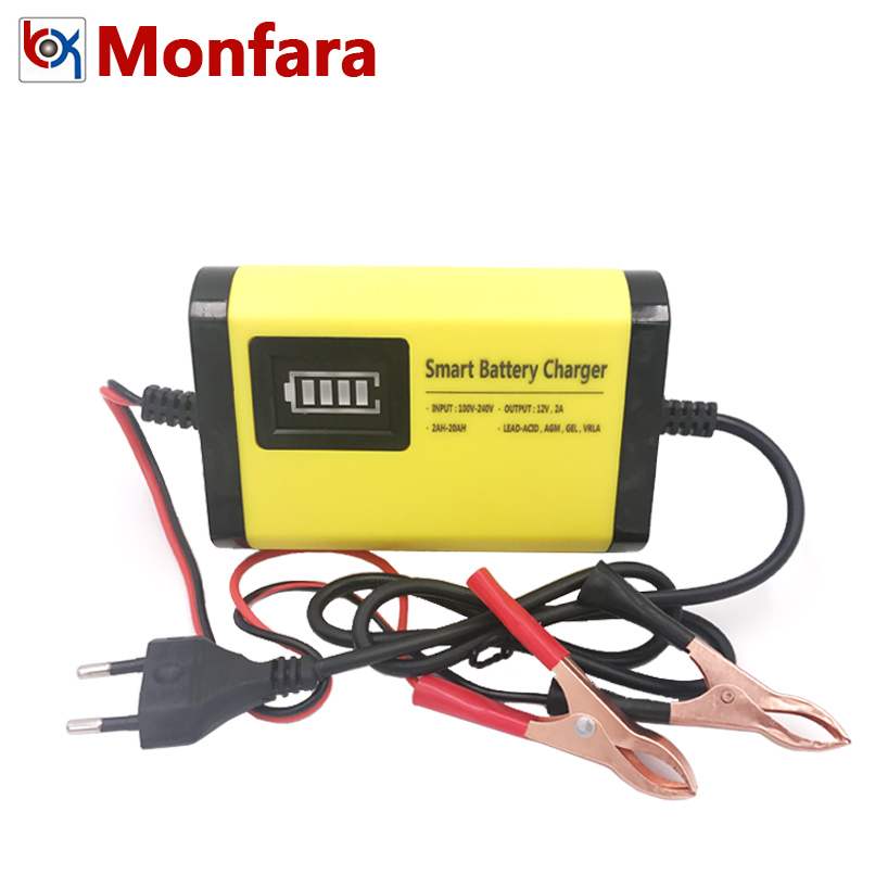 YX201 12V 2A Smart Car Battery Charger Automatic Auto Motorcycle Lead Acid AGM GEL Dry Batteries Power Supply 12 V Volt Moto LCD