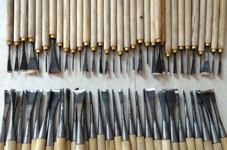Бесплатная доставка, 62 шт. резьба по дереву ручная инструменты чип 31 шт. детали долото + 31 шт. общее долото, сделано и заземлено вручную