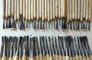 Frete grátis  62 peças mão escultura em madeira ferramentas chip 31 peças detalhe cinzel + 31 peças geral cinzel  feito e chão à mão