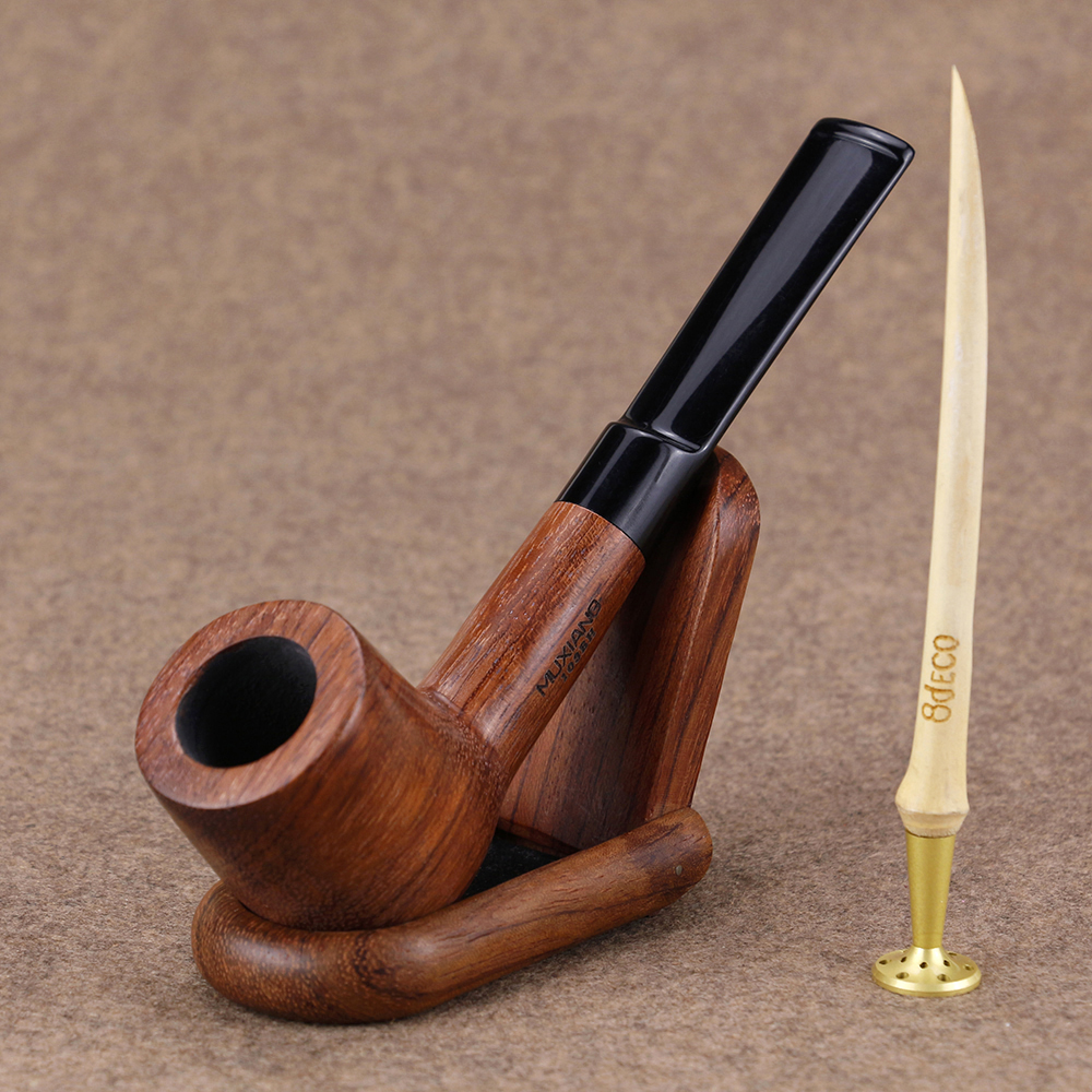 Classic Straight Smoking Pipe Set Rosewood Pipe Wood Stand Bamboo Presser 9mm Filter Tobacco Pipe Handmade Wooden Pipe wood