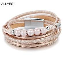 ALLYES Leather Bracelets for Women Femme 5 Ceramic Beads Double Wrap Multilayer & Bangles Bracelet Female Jewelry Gift