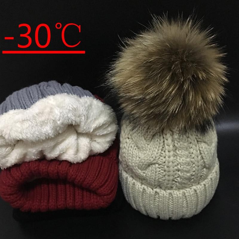 2019 Women's hats Add velvet Fleece Inside Beanies Winter Hats for women 100% Raccoon Fur Pompom Hat Female Twist pattern caps 2