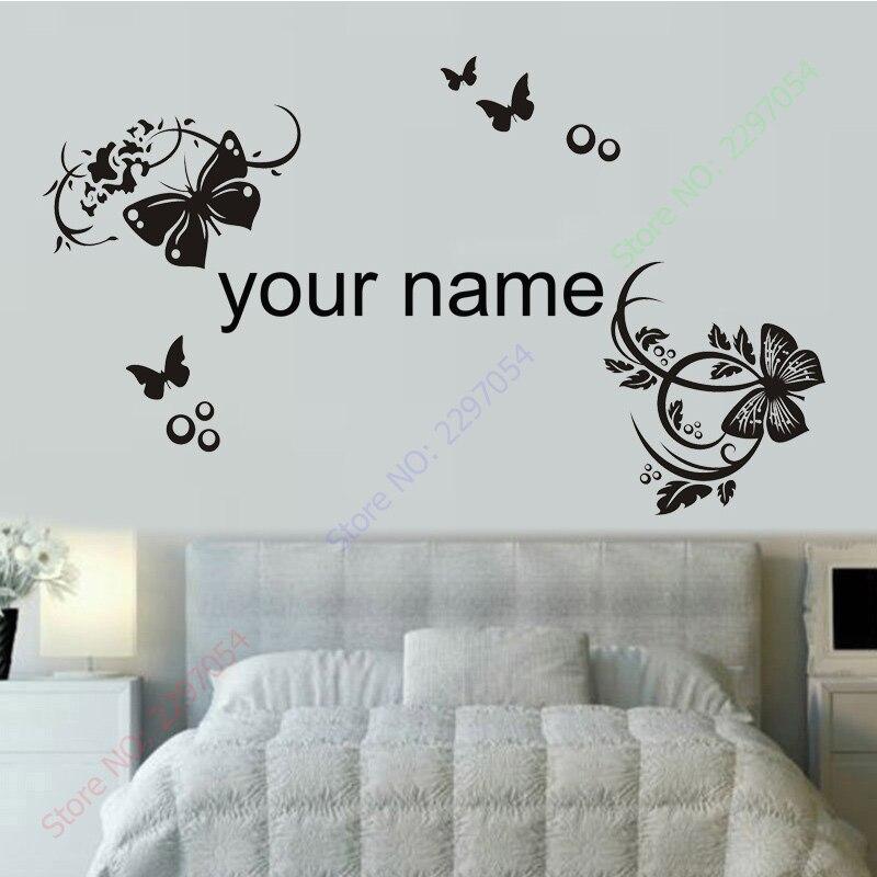 New 3d Butterfly Wall Stickers For Kids Rooms Custom Name Removable Vinyl Wall Sticker Home Decor Preschool Cartoon Wall Art
